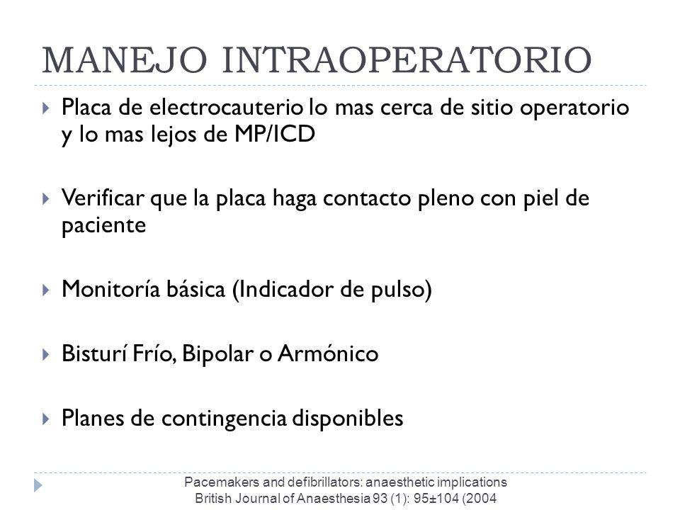 MANEJO INTRAOPERATORIO Placa de electrocauterio lo mas cerca de sitio operatorio y lo mas lejos de MP/ICD Verificar que la placa haga contacto pleno c