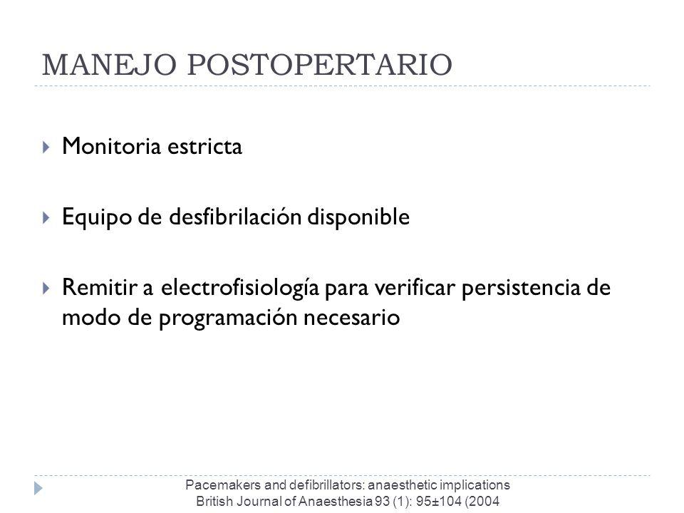 MANEJO POSTOPERTARIO Monitoria estricta Equipo de desfibrilación disponible Remitir a electrofisiología para verificar persistencia de modo de program