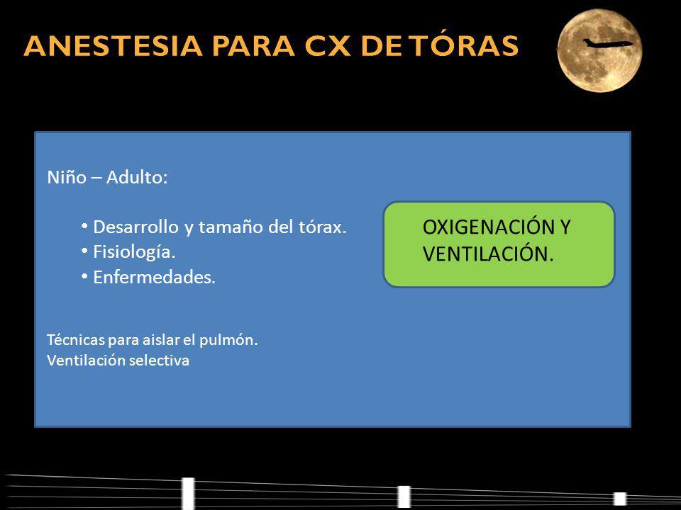 Niño – Adulto: Desarrollo y tamaño del tórax.Fisiología.