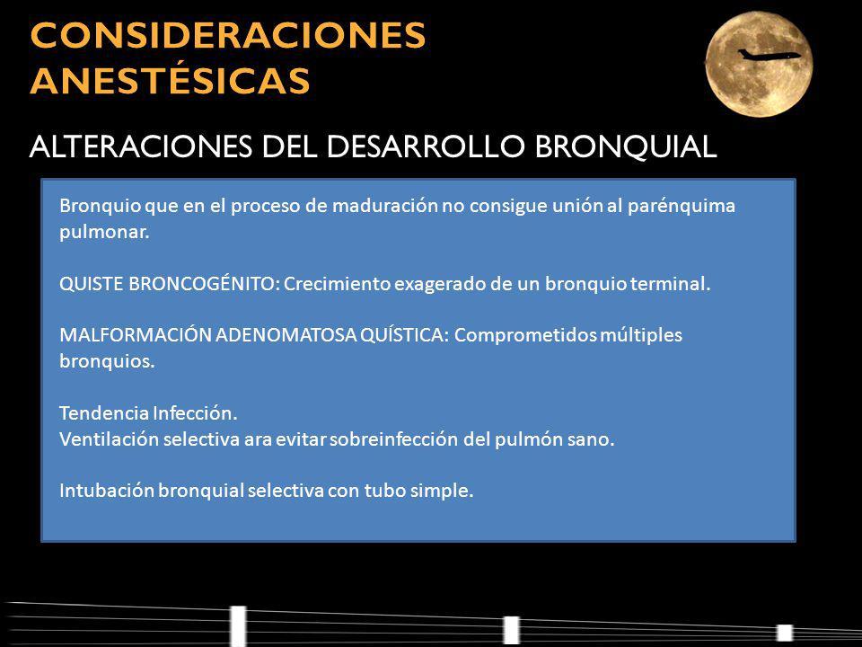ALTERACIONES DEL DESARROLLO BRONQUIAL Bronquio que en el proceso de maduración no consigue unión al parénquima pulmonar.