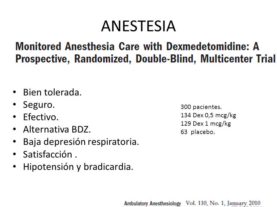 ANESTESIA Bien tolerada. Seguro. Efectivo. Alternativa BDZ. Baja depresión respiratoria. Satisfacción. Hipotensión y bradicardia. 300 pacientes. 134 D