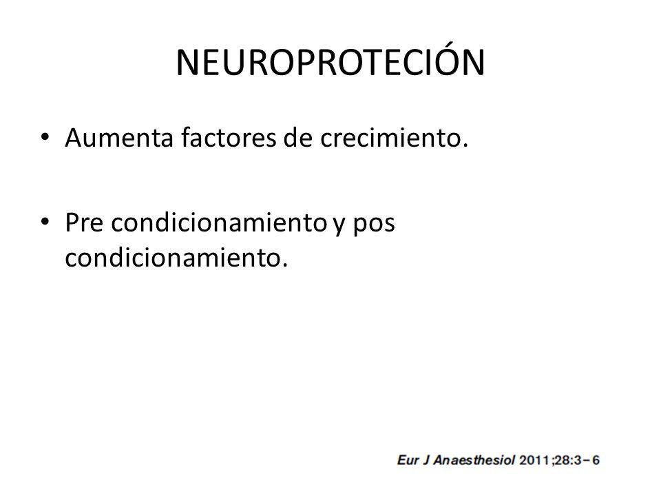 NEUROPROTECIÓN Aumenta factores de crecimiento. Pre condicionamiento y pos condicionamiento.
