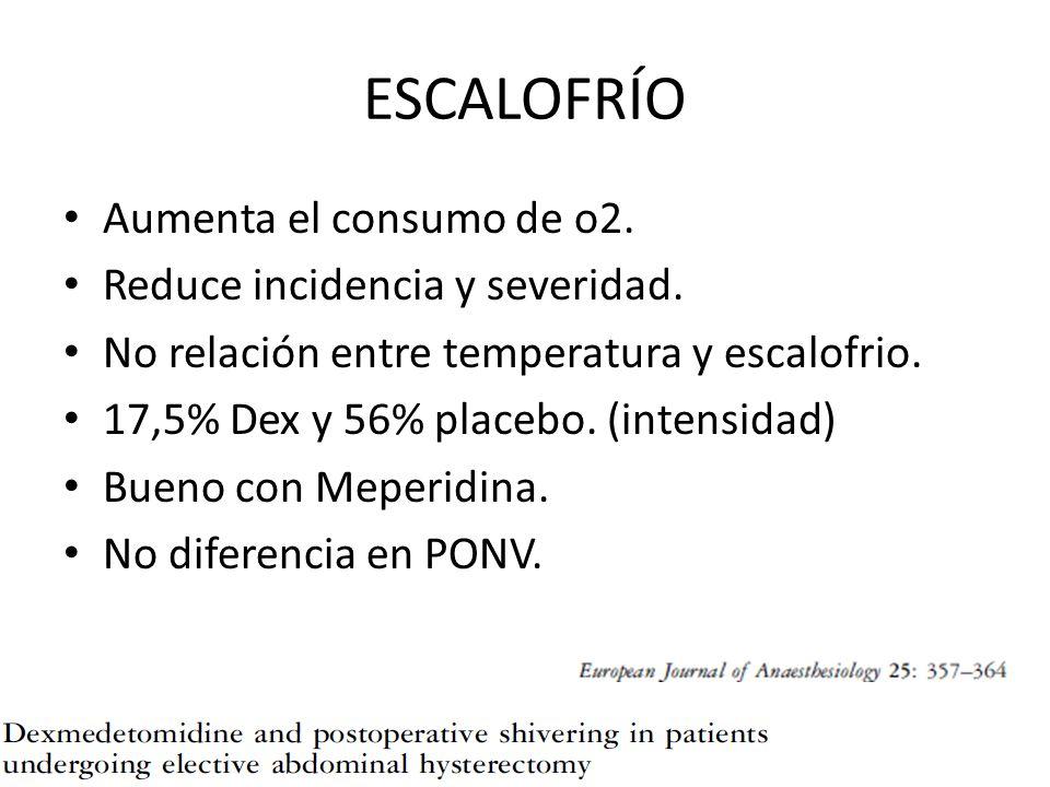 ESCALOFRÍO Aumenta el consumo de o2. Reduce incidencia y severidad. No relación entre temperatura y escalofrio. 17,5% Dex y 56% placebo. (intensidad)