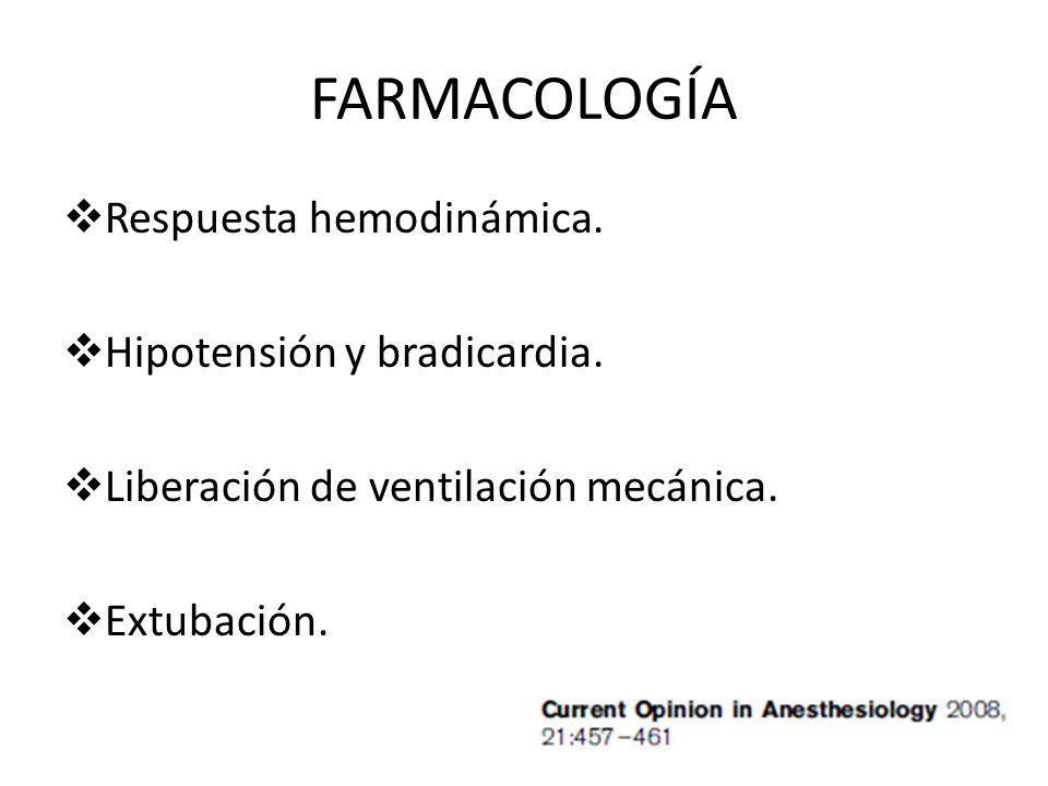 FARMACOLOGÍA Respuesta hemodinámica. Hipotensión y bradicardia. Liberación de ventilación mecánica. Extubación.