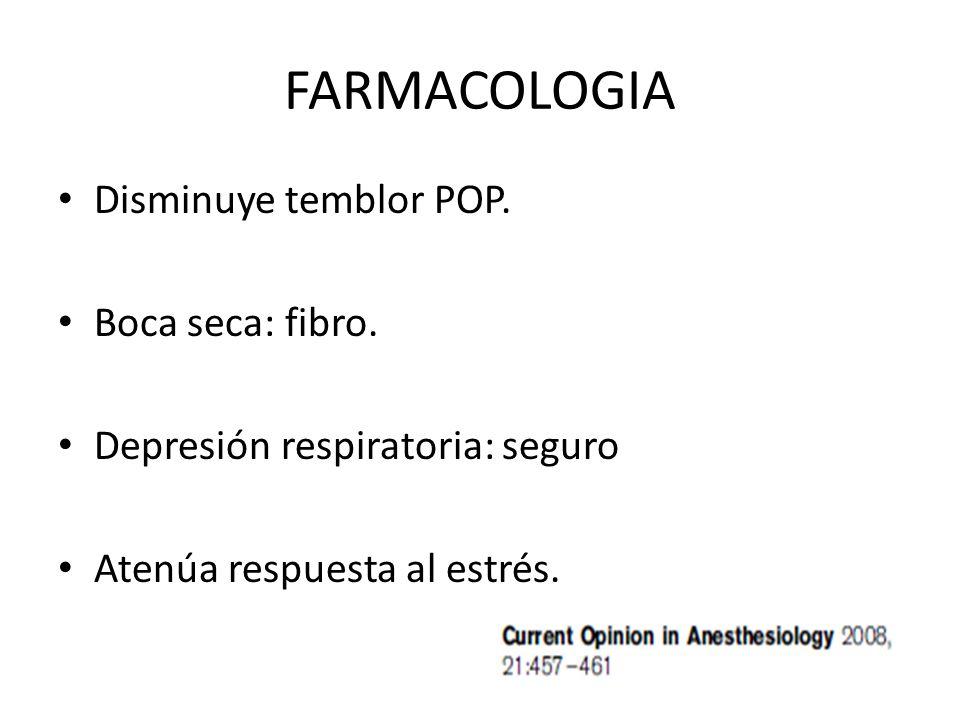 FARMACOLOGIA Disminuye temblor POP. Boca seca: fibro. Depresión respiratoria: seguro Atenúa respuesta al estrés.