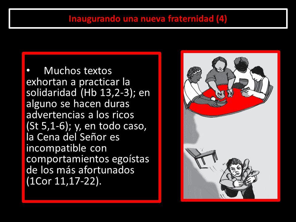 Inaugurando una nueva fraternidad (4) Muchos textos exhortan a practicar la solidaridad (Hb 13,2-3); en alguno se hacen duras advertencias a los ricos