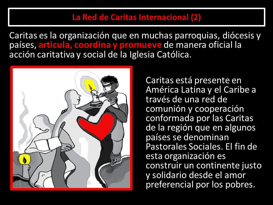 La Red de Caritas Internacional (2) Caritas está presente en América Latina y el Caribe a través de una red de comunión y cooperación conformada por l