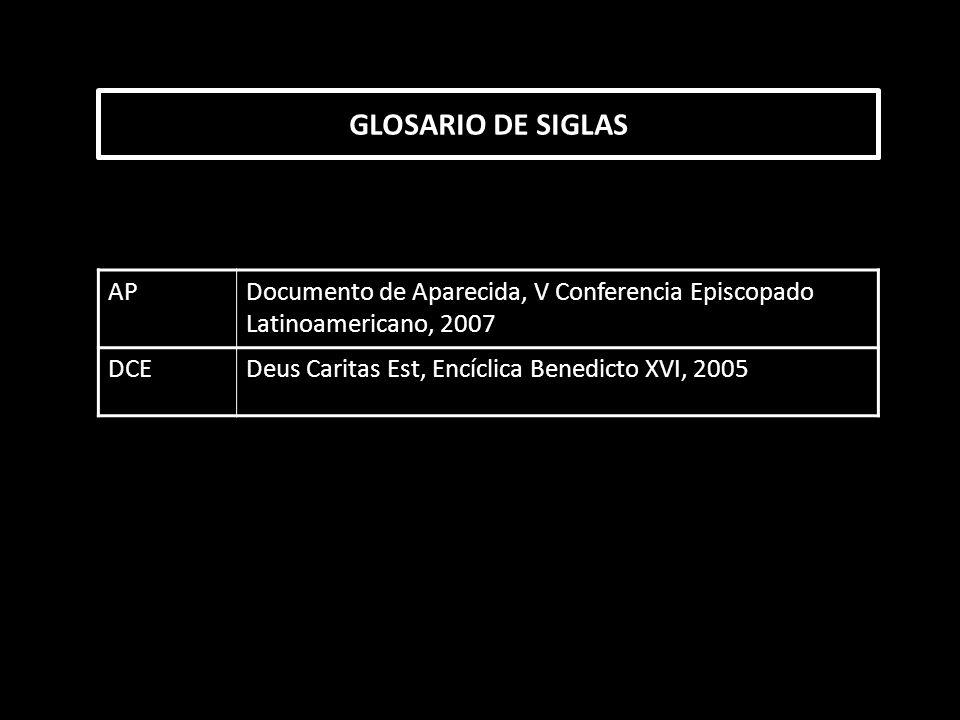 GLOSARIO DE SIGLAS APDocumento de Aparecida, V Conferencia Episcopado Latinoamericano, 2007 DCEDeus Caritas Est, Encíclica Benedicto XVI, 2005