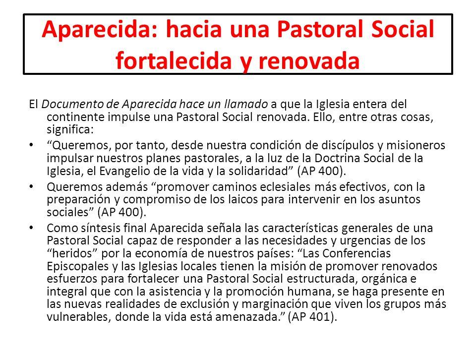 Aparecida: hacia una Pastoral Social fortalecida y renovada El Documento de Aparecida hace un llamado a que la Iglesia entera del continente impulse u