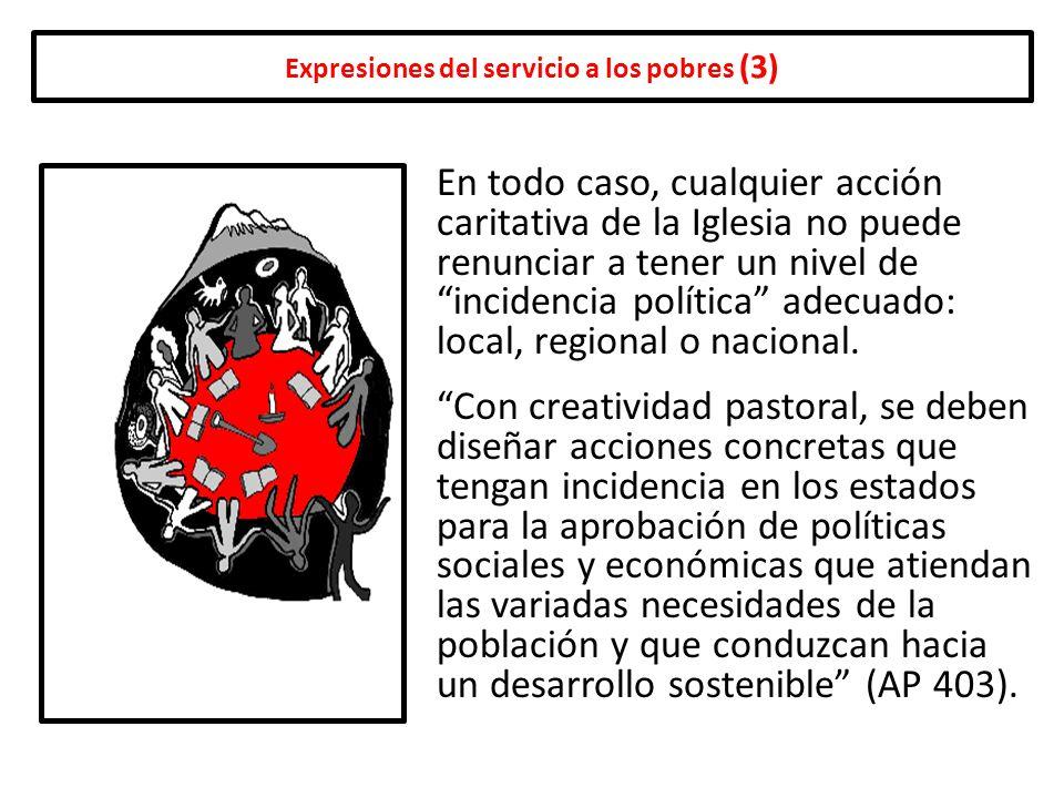 Expresiones del servicio a los pobres (3) En todo caso, cualquier acción caritativa de la Iglesia no puede renunciar a tener un nivel de incidencia po
