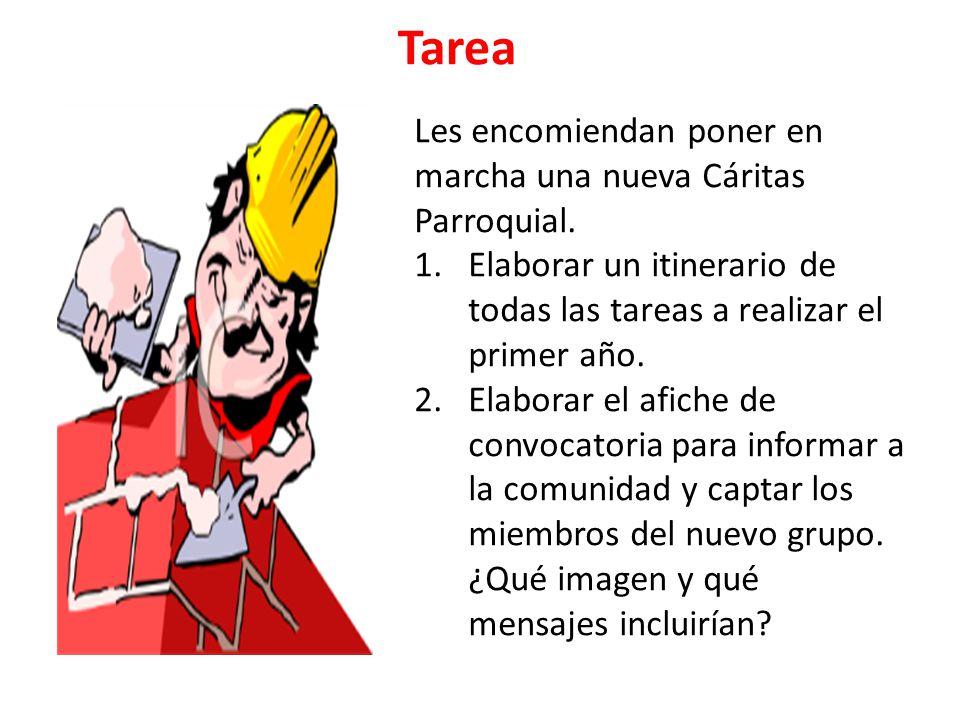 Tarea Les encomiendan poner en marcha una nueva Cáritas Parroquial. 1.Elaborar un itinerario de todas las tareas a realizar el primer año. 2.Elaborar
