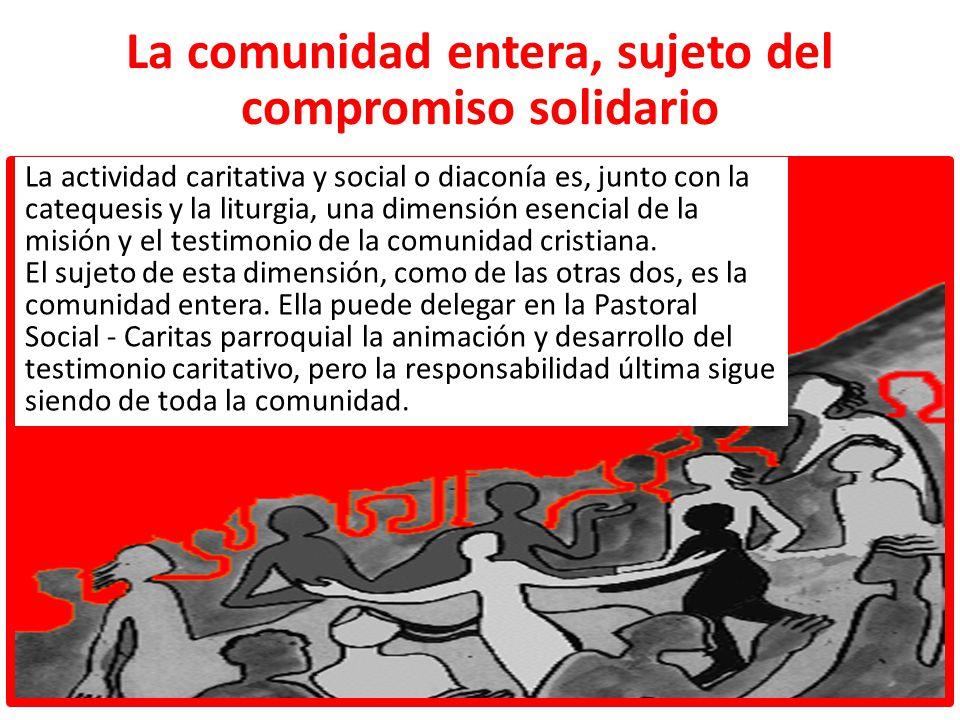 La comunidad entera, sujeto del compromiso solidario La actividad caritativa y social o diaconía es, junto con la catequesis y la liturgia, una dimens