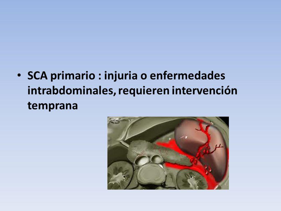 SCA primario : injuria o enfermedades intrabdominales, requieren intervención temprana