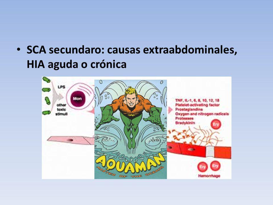 SCA secundaro: causas extraabdominales, HIA aguda o crónica