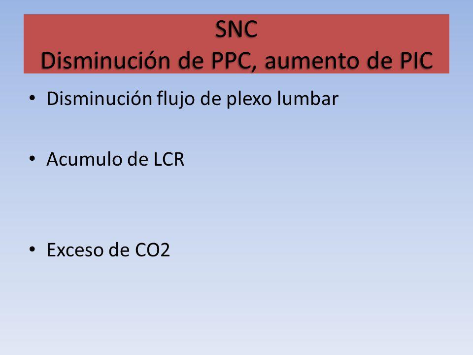 SNC Disminución de PPC, aumento de PIC Disminución flujo de plexo lumbar Acumulo de LCR Exceso de CO2