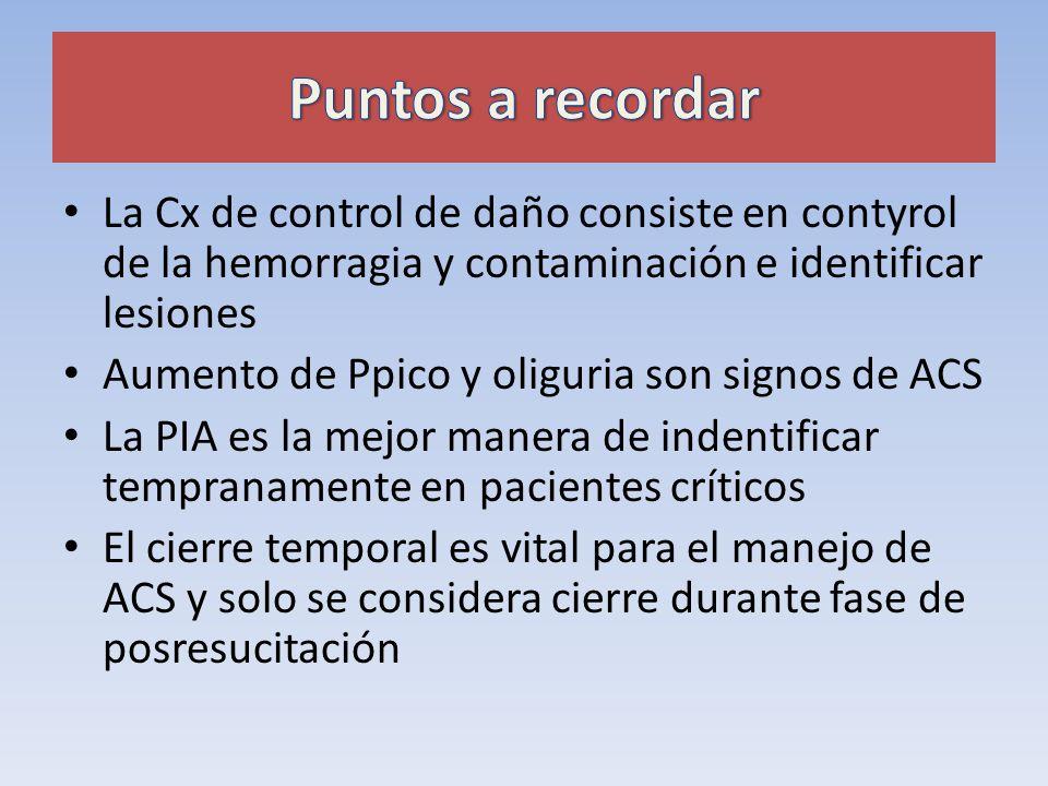 La Cx de control de daño consiste en contyrol de la hemorragia y contaminación e identificar lesiones Aumento de Ppico y oliguria son signos de ACS La