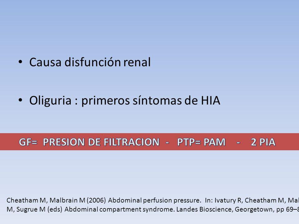Causa disfunción renal Oliguria : primeros síntomas de HIA Cheatham M, Malbrain M (2006) Abdominal perfusion pressure. In: Ivatury R, Cheatham M, Malb