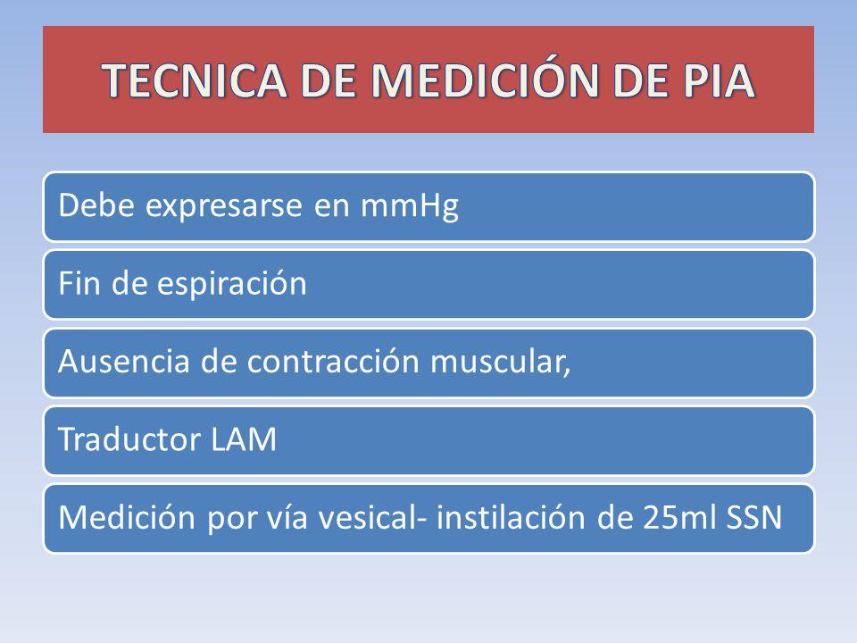 Debe expresarse en mmHgFin de espiraciónAusencia de contracción muscular,Traductor LAMMedición por vía vesical- instilación de 25ml SSN