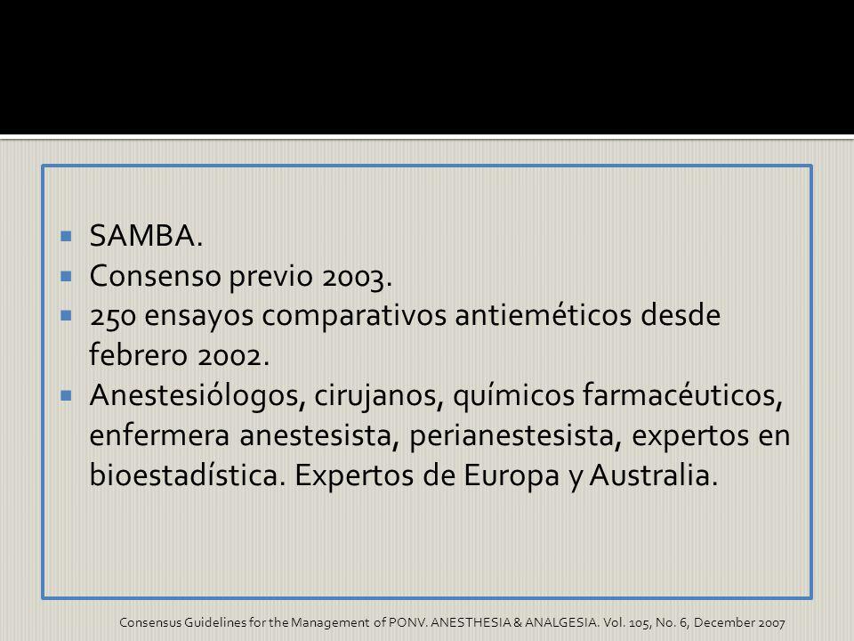 SAMBA. Consenso previo 2003. 250 ensayos comparativos antieméticos desde febrero 2002. Anestesiólogos, cirujanos, químicos farmacéuticos, enfermera an