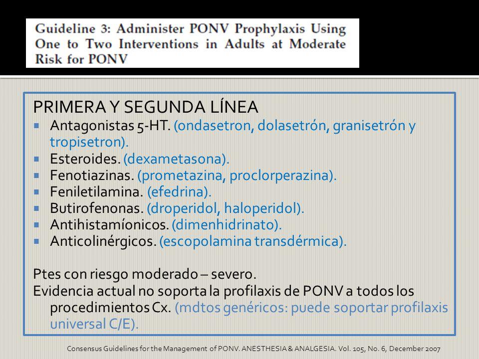 PRIMERA Y SEGUNDA LÍNEA Antagonistas 5-HT. (ondasetron, dolasetrón, granisetrón y tropisetron). Esteroides. (dexametasona). Fenotiazinas. (prometazina