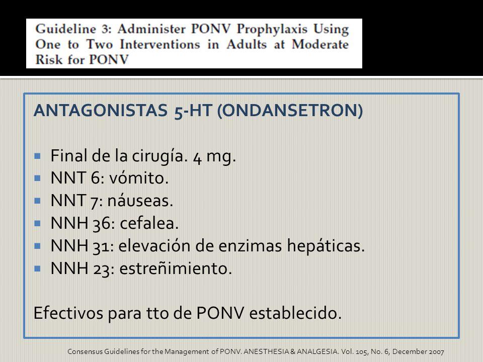 ANTAGONISTAS 5-HT (ONDANSETRON) Final de la cirugía. 4 mg. NNT 6: vómito. NNT 7: náuseas. NNH 36: cefalea. NNH 31: elevación de enzimas hepáticas. NNH