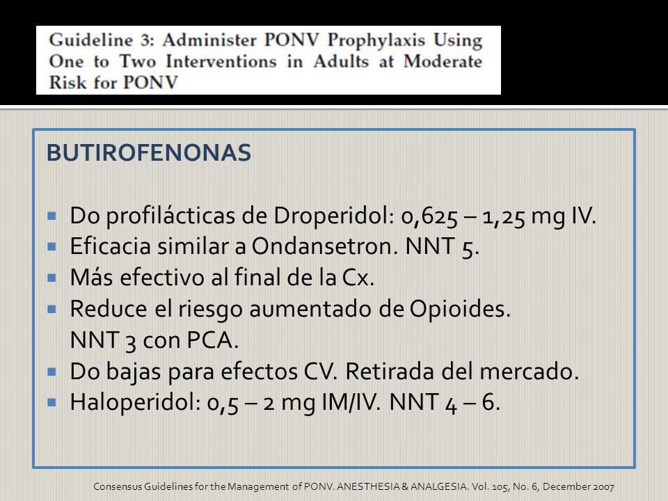 BUTIROFENONAS Do profilácticas de Droperidol: 0,625 – 1,25 mg IV. Eficacia similar a Ondansetron. NNT 5. Más efectivo al final de la Cx. Reduce el rie