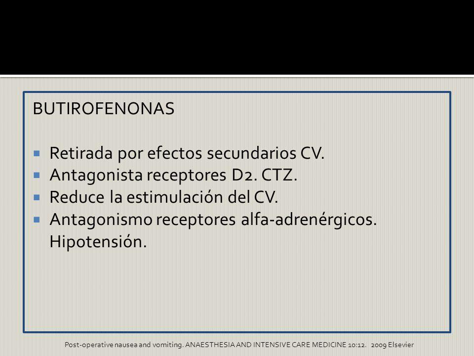 BUTIROFENONAS Retirada por efectos secundarios CV. Antagonista receptores D2. CTZ. Reduce la estimulación del CV. Antagonismo receptores alfa-adrenérg