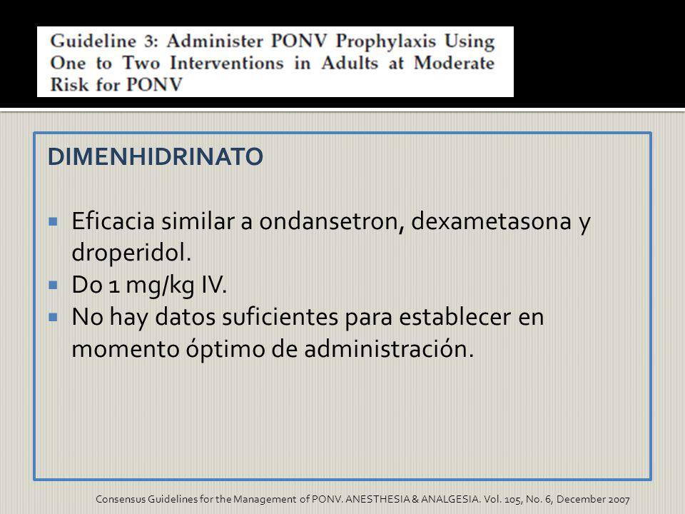 DIMENHIDRINATO Eficacia similar a ondansetron, dexametasona y droperidol. Do 1 mg/kg IV. No hay datos suficientes para establecer en momento óptimo de