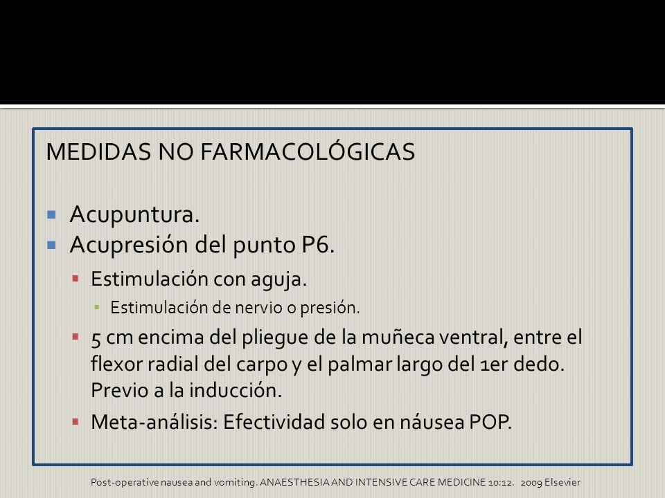 MEDIDAS NO FARMACOLÓGICAS Acupuntura. Acupresión del punto P6. Estimulación con aguja. Estimulación de nervio o presión. 5 cm encima del pliegue de la