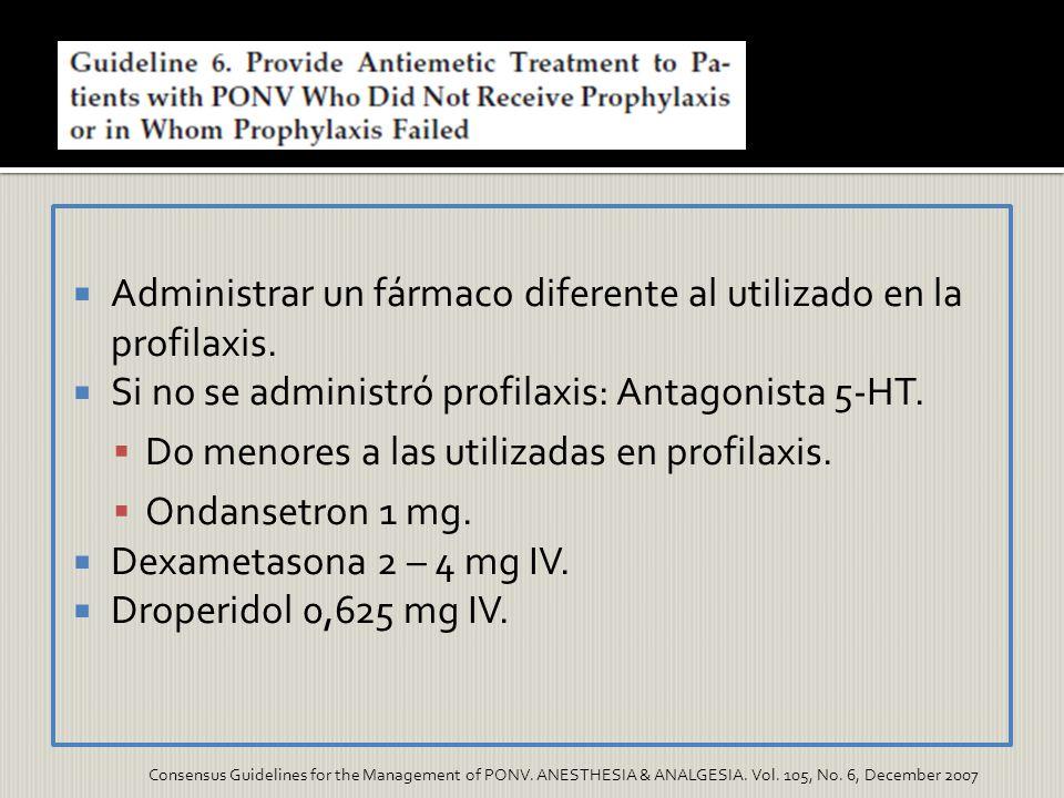 Administrar un fármaco diferente al utilizado en la profilaxis. Si no se administró profilaxis: Antagonista 5-HT. Do menores a las utilizadas en profi