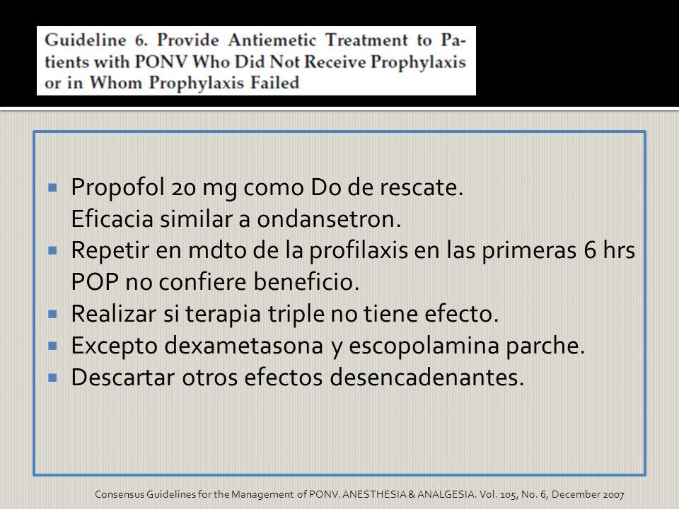 Propofol 20 mg como Do de rescate. Eficacia similar a ondansetron. Repetir en mdto de la profilaxis en las primeras 6 hrs POP no confiere beneficio. R