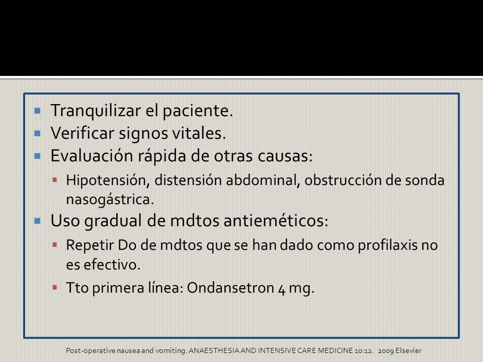 Tranquilizar el paciente. Verificar signos vitales. Evaluación rápida de otras causas: Hipotensión, distensión abdominal, obstrucción de sonda nasogás