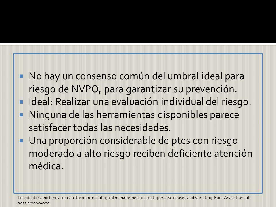 No hay un consenso común del umbral ideal para riesgo de NVPO, para garantizar su prevención. Ideal: Realizar una evaluación individual del riesgo. Ni