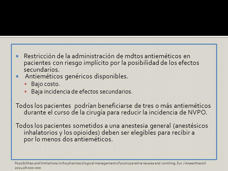 Restricción de la administración de mdtos antieméticos en pacientes con riesgo implícito por la posibilidad de los efectos secundarios. Antieméticos g