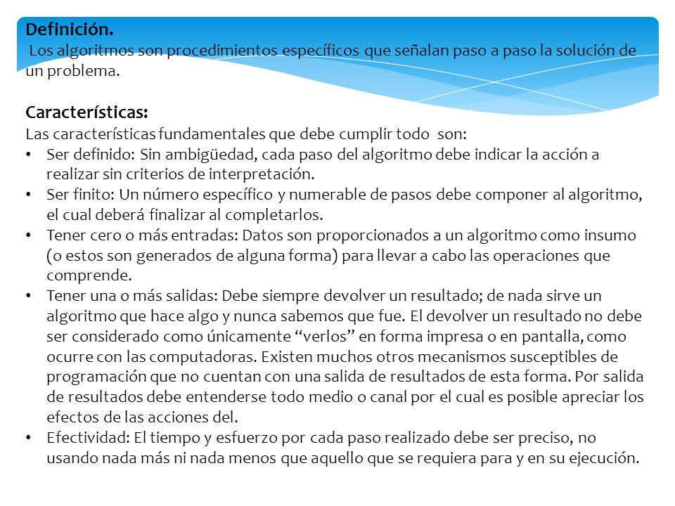Definición. Los algoritmos son procedimientos específicos que señalan paso a paso la solución de un problema. Características: Las características fun
