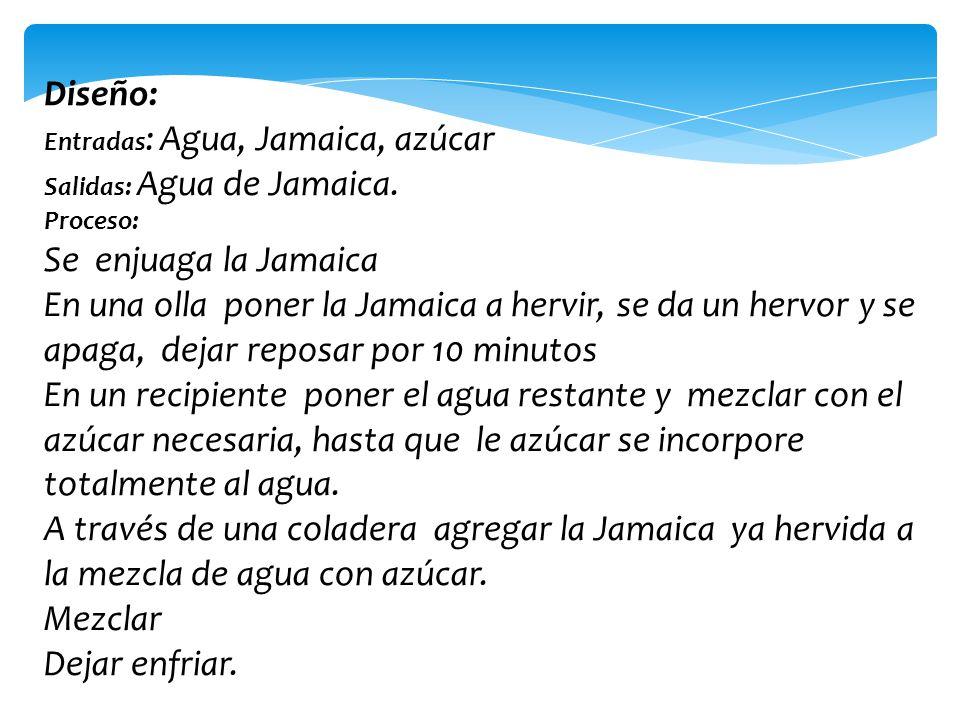 Diseño: Entradas : Agua, Jamaica, azúcar Salidas: Agua de Jamaica. Proceso: Se enjuaga la Jamaica En una olla poner la Jamaica a hervir, se da un herv