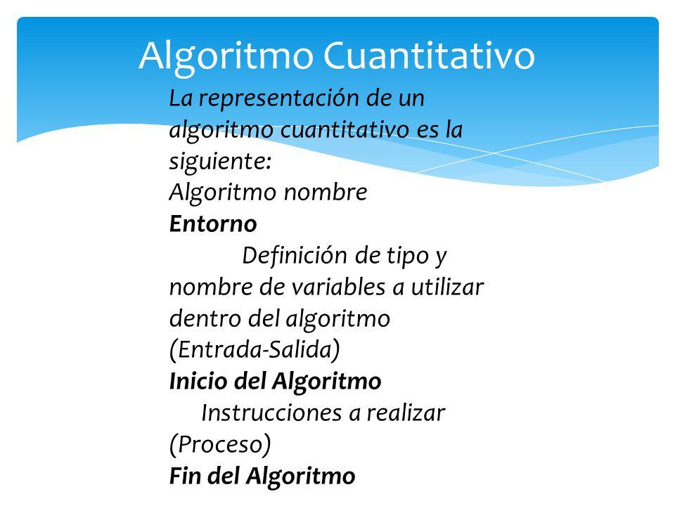 La representación de un algoritmo cuantitativo es la siguiente: Algoritmo nombre Entorno Definición de tipo y nombre de variables a utilizar dentro de