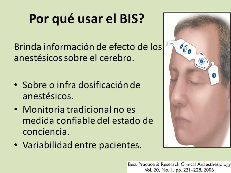 Por qué usar el BIS.Brinda información de efecto de los anestésicos sobre el cerebro.