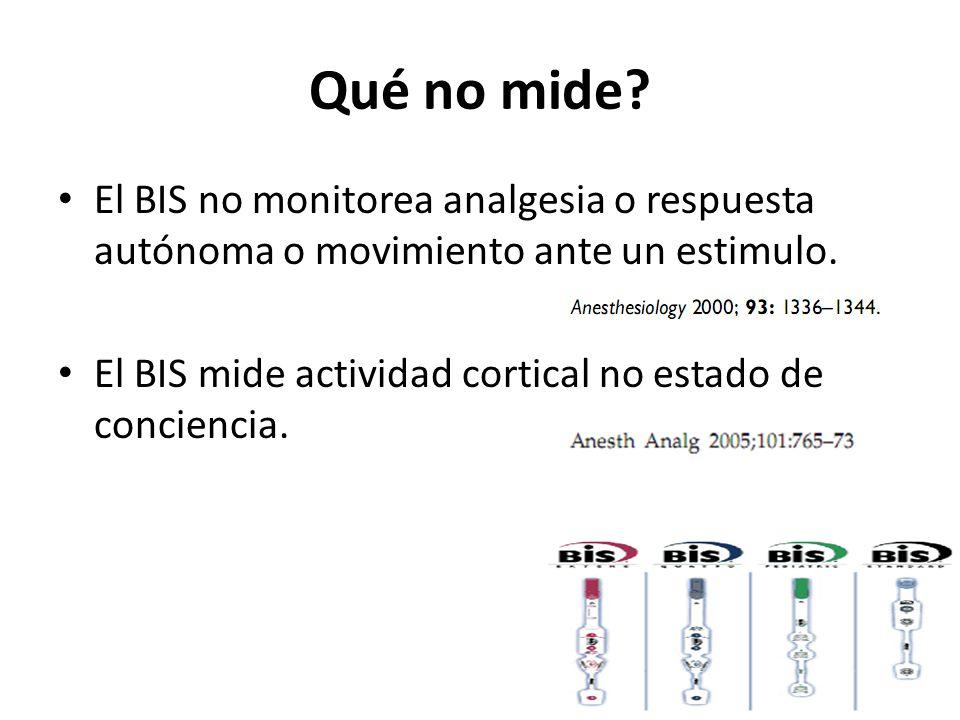 Qué no mide.El BIS no monitorea analgesia o respuesta autónoma o movimiento ante un estimulo.