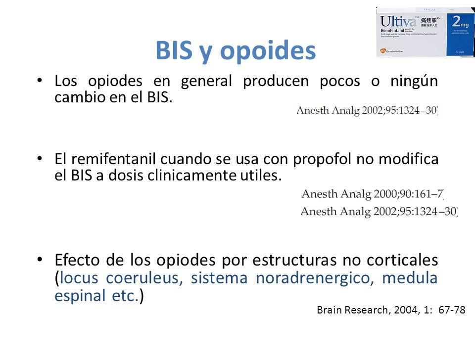 BIS y opoides Los opiodes en general producen pocos o ningún cambio en el BIS.