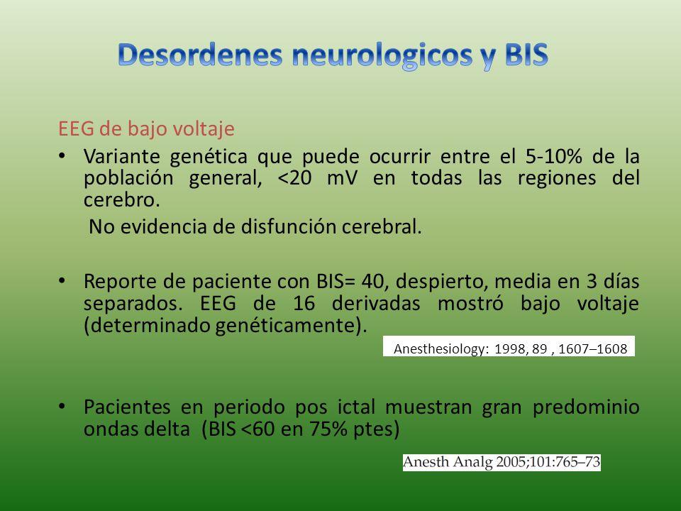 EEG de bajo voltaje Variante genética que puede ocurrir entre el 5-10% de la población general, <20 mV en todas las regiones del cerebro.