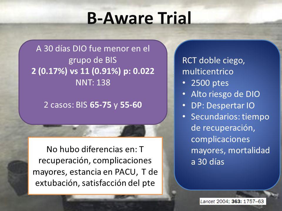 B-Aware Trial RCT doble ciego, multicentrico 2500 ptes Alto riesgo de DIO DP: Despertar IO Secundarios: tiempo de recuperación, complicaciones mayores, mortalidad a 30 días A 30 días DIO fue menor en el grupo de BIS 2 (0.17%) vs 11 (0.91%) p: 0.022 NNT: 138 2 casos: BIS 65-75 y 55-60 No hubo diferencias en: T recuperación, complicaciones mayores, estancia en PACU, T de extubación, satisfacción del pte