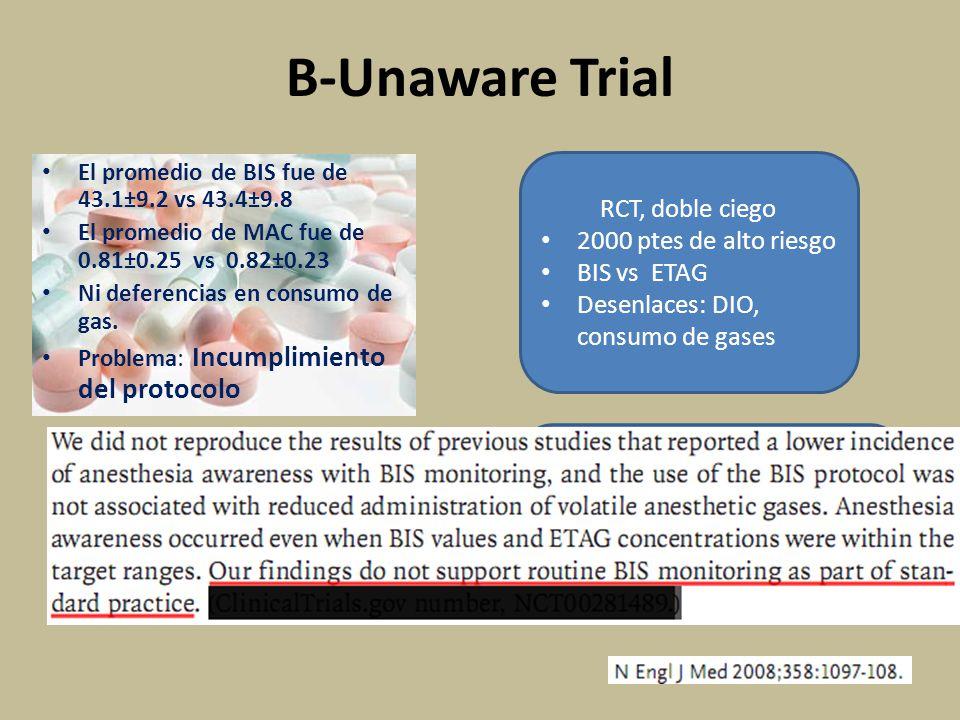 B-Unaware Trial El promedio de BIS fue de 43.1±9.2 vs 43.4±9.8 El promedio de MAC fue de 0.81±0.25 vs 0.82±0.23 Ni deferencias en consumo de gas.