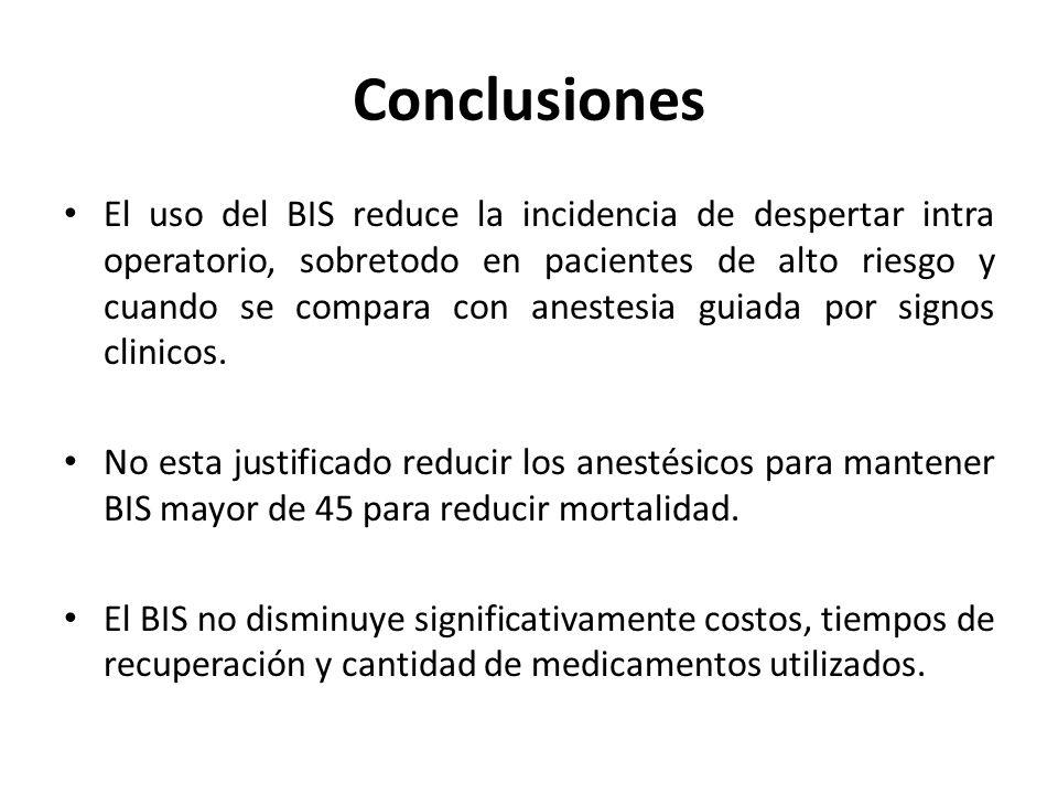 Conclusiones El uso del BIS reduce la incidencia de despertar intra operatorio, sobretodo en pacientes de alto riesgo y cuando se compara con anestesia guiada por signos clinicos.