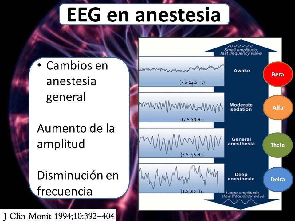 Delta Theta Alfa Beta (7.5-12.5 Hz) (12.5-30 Hz) (1.5-3.5 Hz) (3.5-7.5 Hz) Cambios en anestesia general Aumento de la amplitud Disminución en frecuencia EEG en anestesia