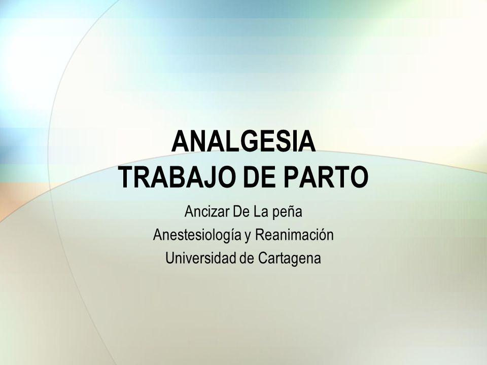 ANALGESIA TRABAJO DE PARTO Ancizar De La peña Anestesiología y Reanimación Universidad de Cartagena