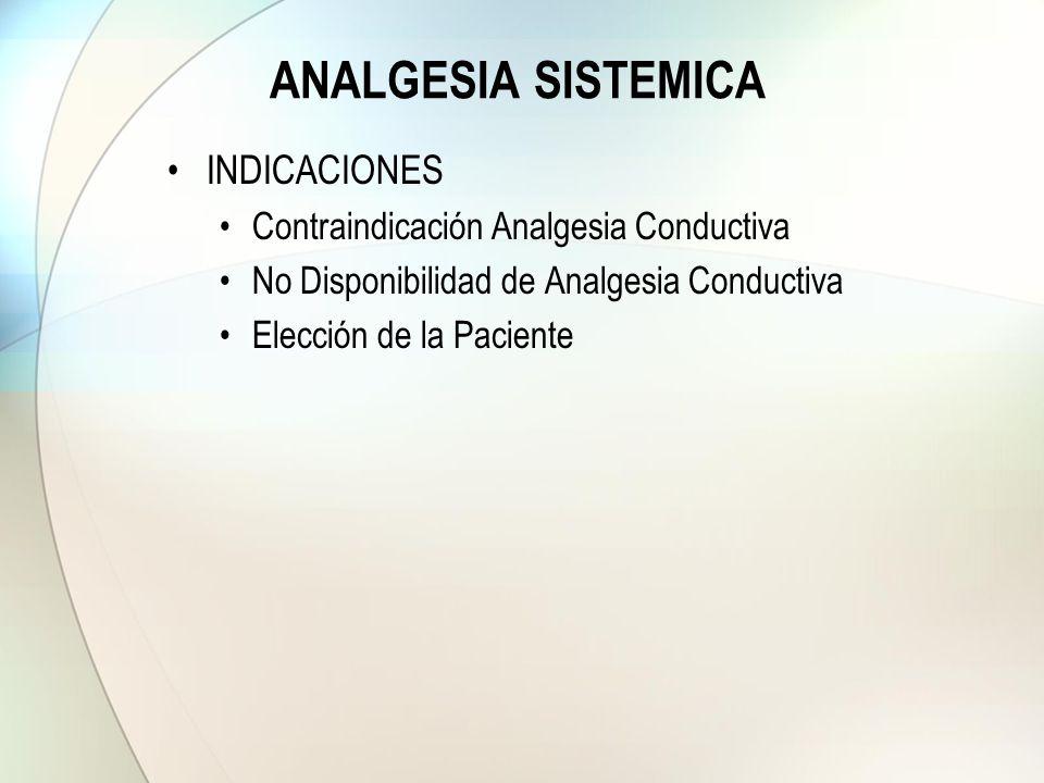 ANALGESIA SISTEMICA INDICACIONES Contraindicación Analgesia Conductiva No Disponibilidad de Analgesia Conductiva Elección de la Paciente