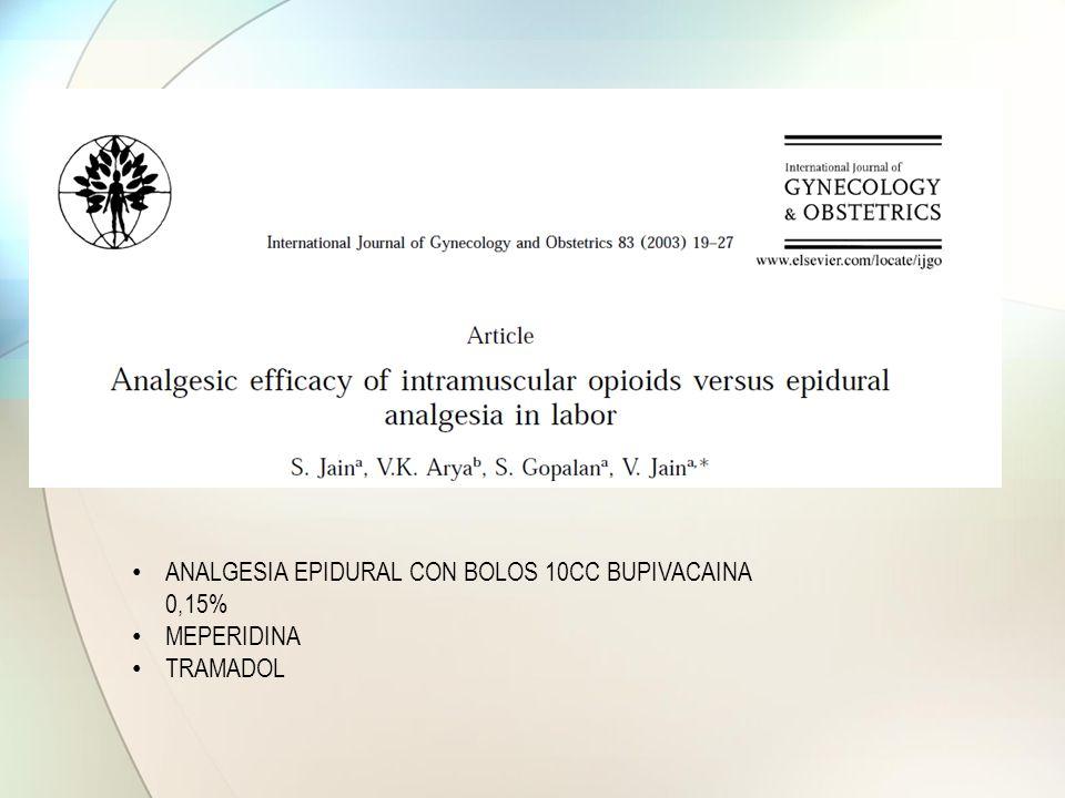 ANALGESIA EPIDURAL CON BOLOS 10CC BUPIVACAINA 0,15% MEPERIDINA TRAMADOL