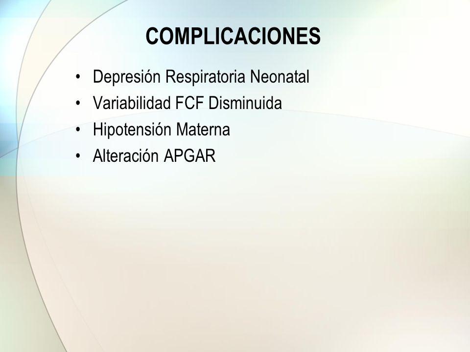 COMPLICACIONES Depresión Respiratoria Neonatal Variabilidad FCF Disminuida Hipotensión Materna Alteración APGAR