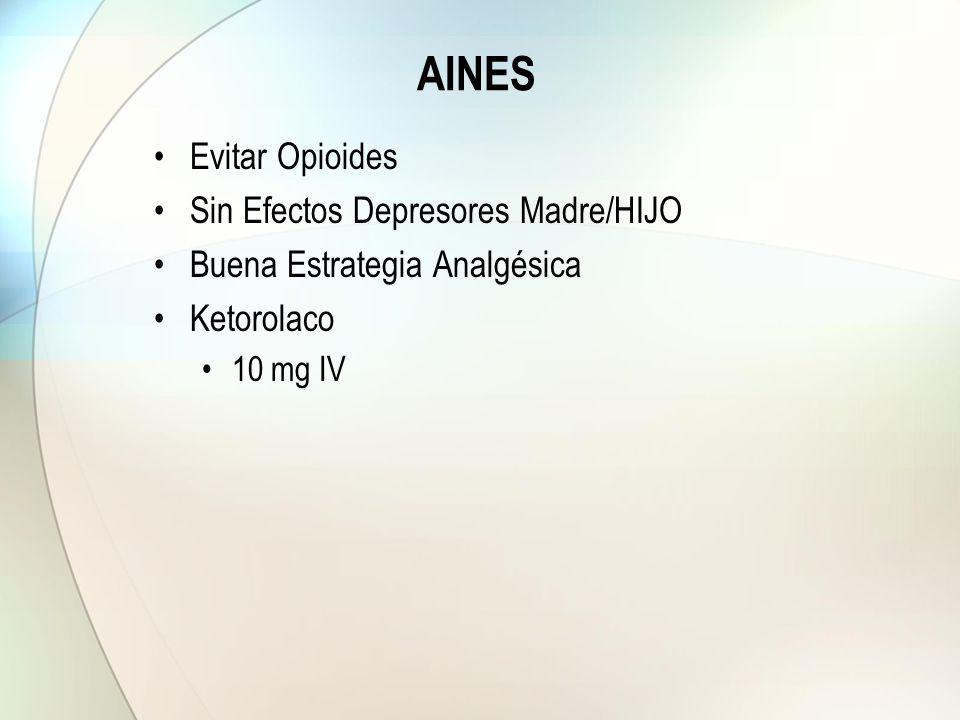 AINES Evitar Opioides Sin Efectos Depresores Madre/HIJO Buena Estrategia Analgésica Ketorolaco 10 mg IV